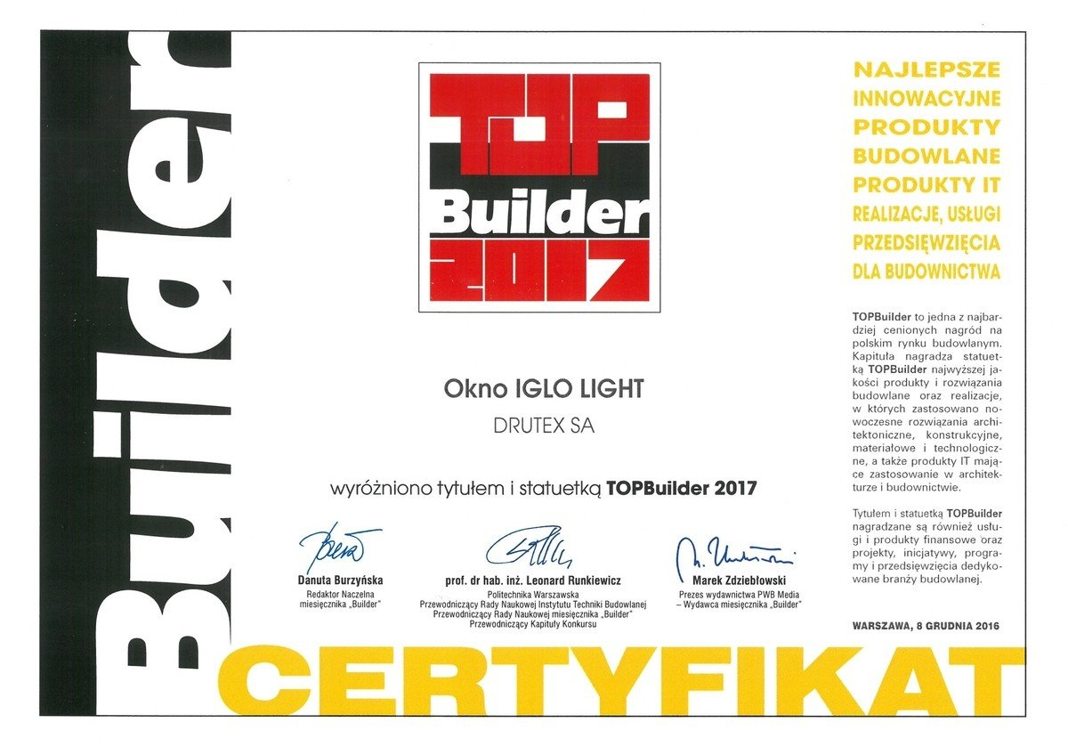 Iglo Light window from Drutex receives the Top Builder 2017 award.